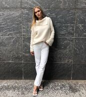 jeans,white jeans,white sandals,white sweater,turtleneck sweater,sweater,all white everything,beige,knitwear,look de pernille,pernille teisbaek,pants,fall outfits,blogger,instagram