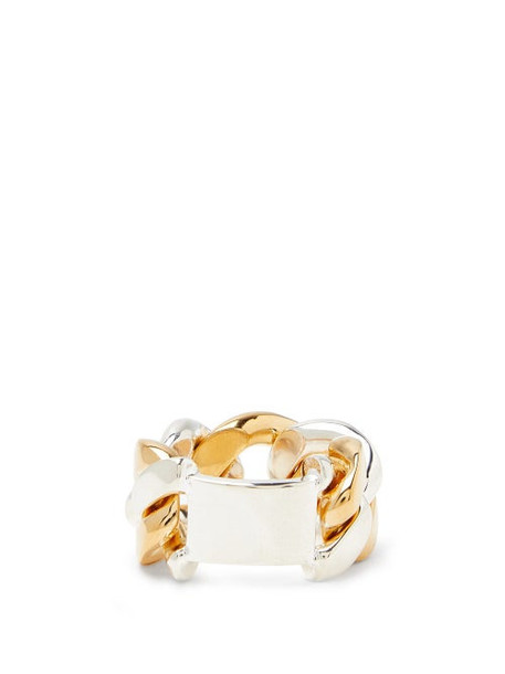 Bottega Veneta - Curb-chain 18kt Gold-plated Sterling-silver Ring - Womens - Silver Gold