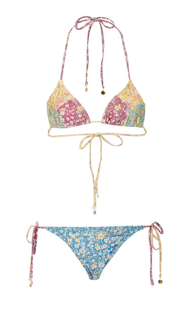 Zimmermann Carnaby Spliced Triangle Bikini Size: 0 in print