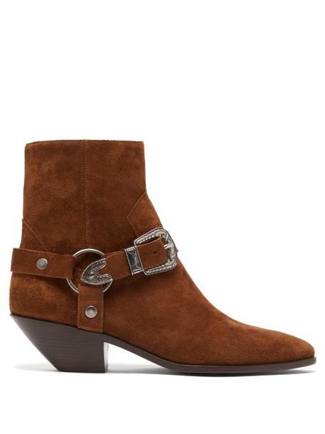 Saint Laurent - West Harness Suede Boots - Womens - Tan