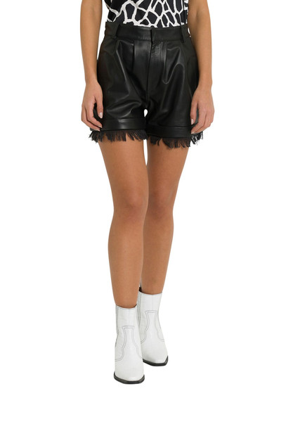 Federica Tosi Faux Leather Shorts With Finge in nero