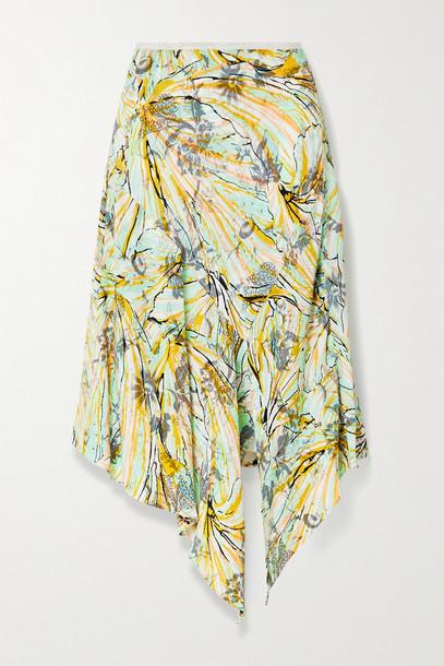DIANE VON FURSTENBERG - Florence Reversible Asymmetric Floral-print Crepe Midi Skirt - Yellow