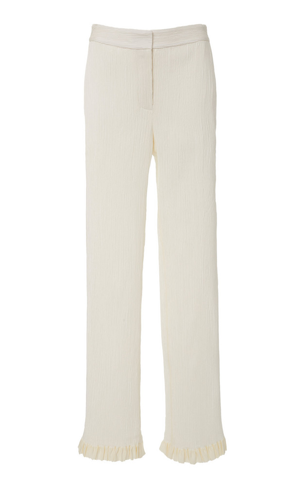 Danielle Frankel Dana Pleated Georgette Pants Size: 0 in white