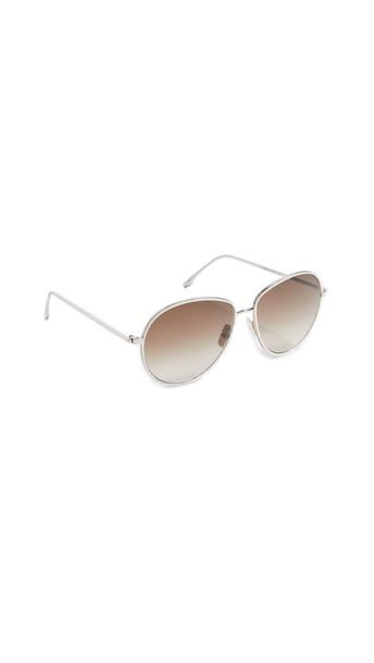 Victoria Beckham Fine Aviator Sunglasses in silver / white