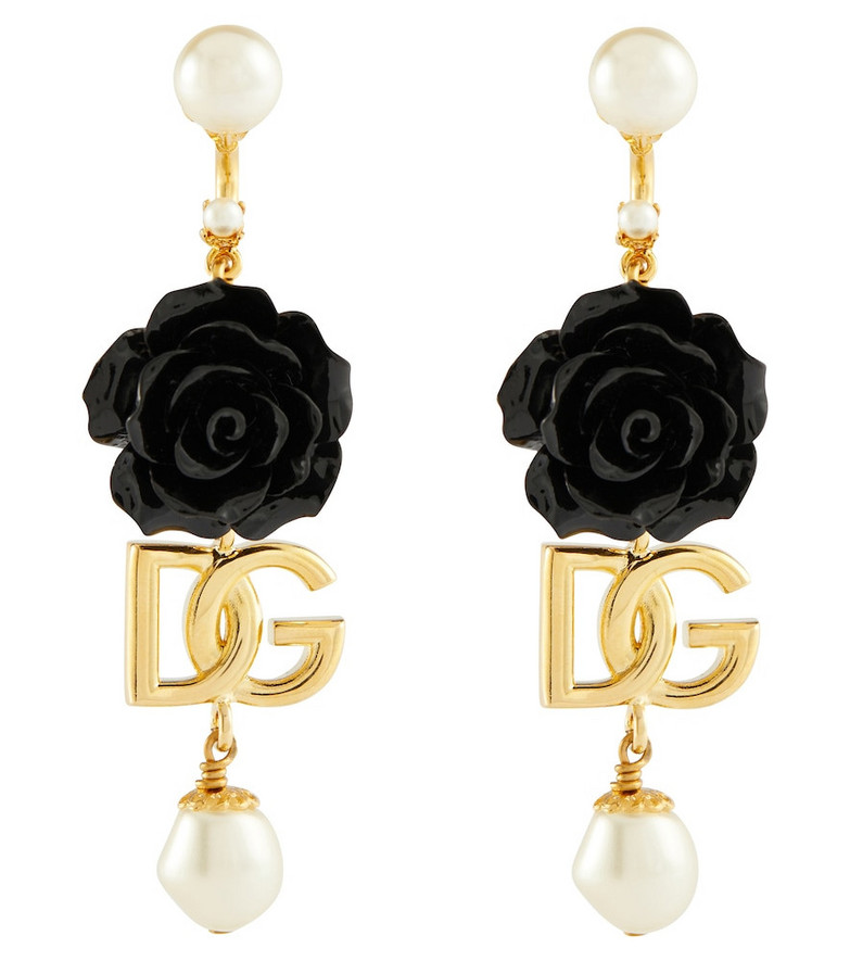 Dolce & Gabbana DG floral and faux pearl earrings in black