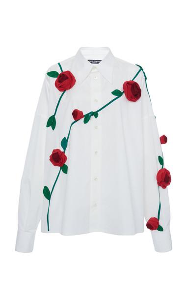 Dolce & Gabbana Embellished Rose Poplin Top in white