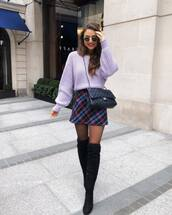 sweater,knitted sweater,h&m,over the knee boots,black boots,suede boots,tights,mini skirt,plaid skirt,high waisted skirt,black bag,chanel bag