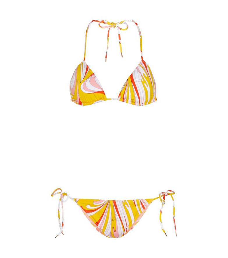 Emilio Pucci Beach Printed triangle bikini in yellow