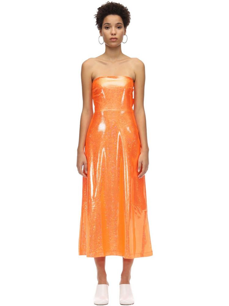 SAKS POTTS Glittered Back Knot Midi Dress in orange