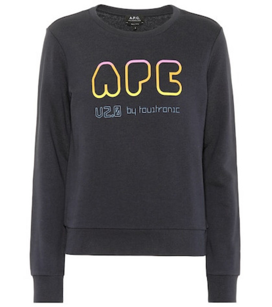 A.P.C. Printed cotton sweatshirt in blue