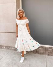 dress,midi dress,white dress,off the shoulder dress,white sneakers