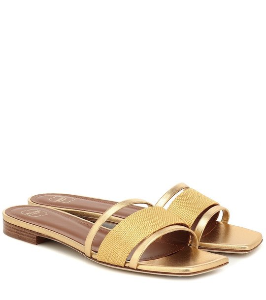 Malone Souliers Demi raffia and leather sandals in gold