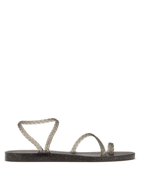 Ancient Greek Sandals - Eleftheria Glitter Flecked Rubber Sandals - Womens - Black