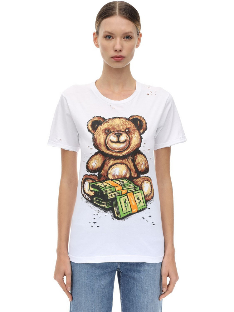 DOMREBEL Teddy Print Cotton Jersey T-shirt in white