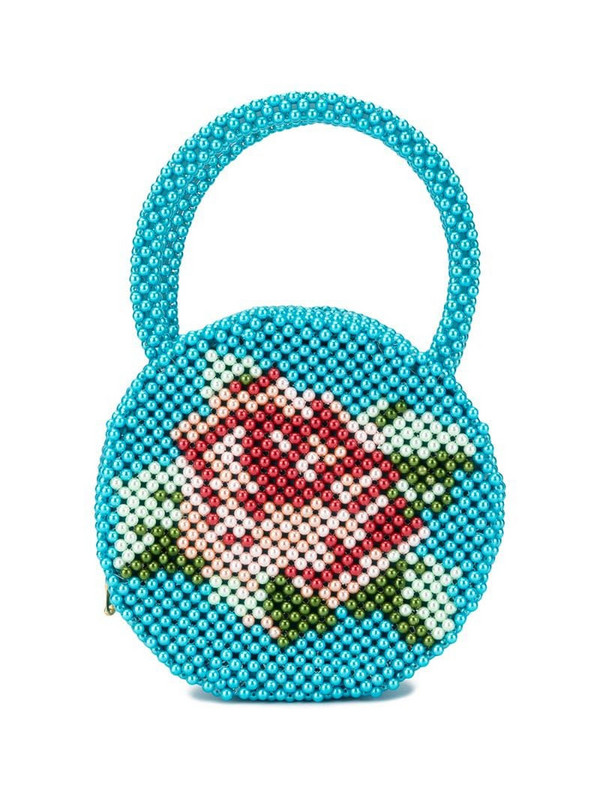 Shrimps Rose pearl-embellished clutch bag in blue