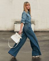 jeans,wide-leg pants,high waisted jeans,platform sandals,white bag,denim shirt