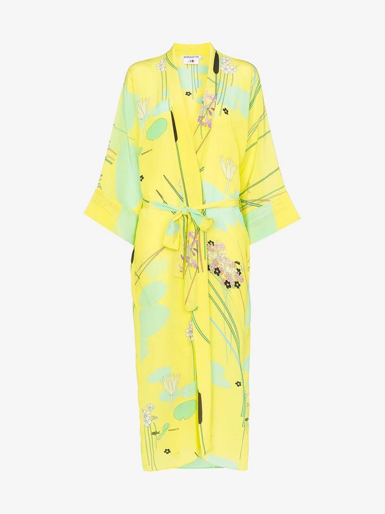 Bernadette Peignoir silk kimono robe in yellow