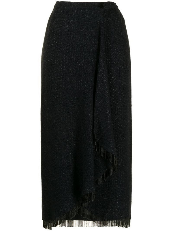 Valentino Pre-Owned beaded fringe hem midi skirt in black
