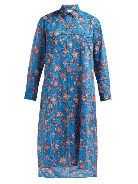 Isabel Marant Étoile - Eliane Floral Print Cotton Voile Midi Dress - Womens - Blue