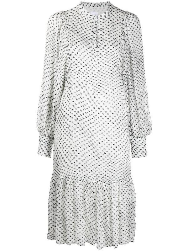 Lala Berlin patterned ruffle hem dress in white