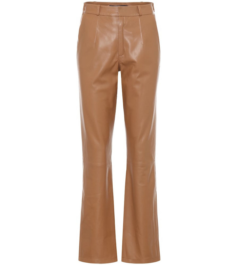 Zeynep Arçay High-rise leather pants in brown