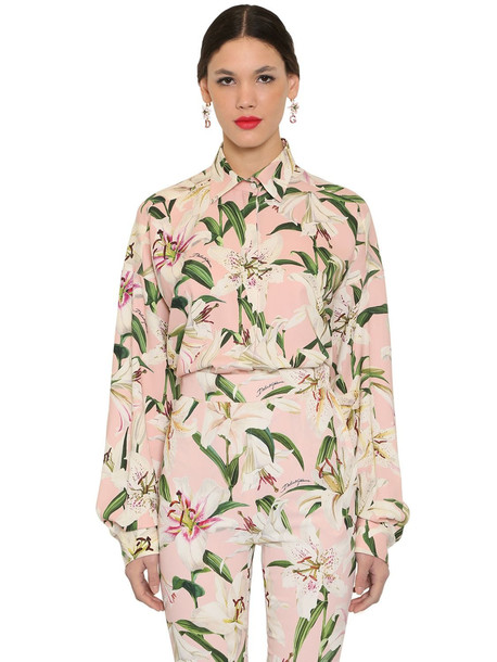 DOLCE & GABBANA Printed Silk Charmeuse Shirt in pink / multi