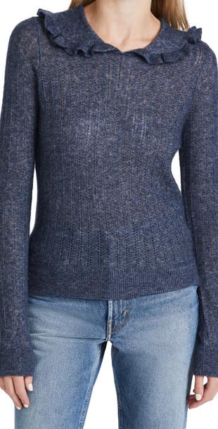 Autumn Cashmere Cashmere Ruffle Collar Sweater in denim / denim