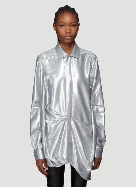 Rick Owens Metallic Gathered Hem Shirt in Grey size IT - 42