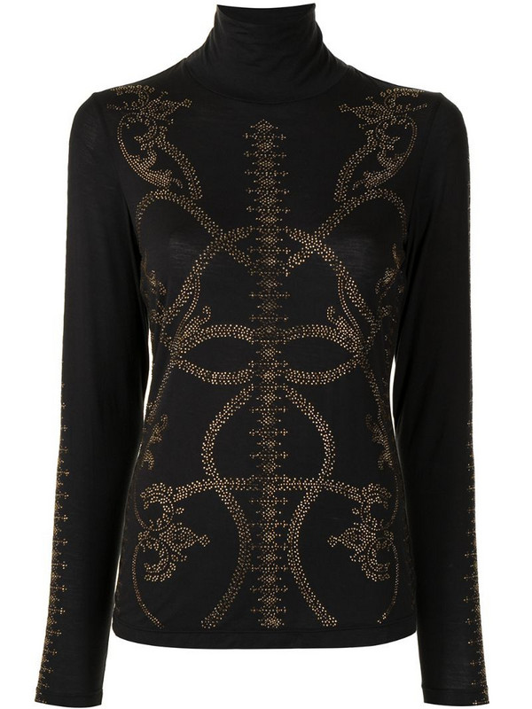 Camilla abstract-print long-sleeve top in black