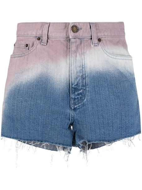 Saint Laurent ombré-effect denim shorts in blue