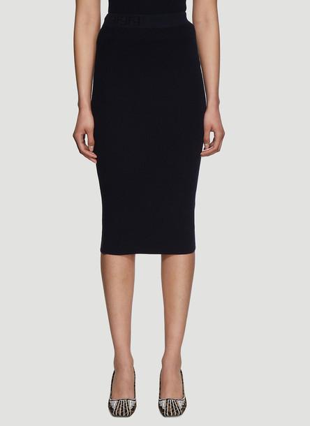 Fendi FF Logo Ribbed-Knit Skirt in Navy size IT - 38