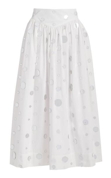 Markarian Vesa Full Skirt With Pointed Waist in white
