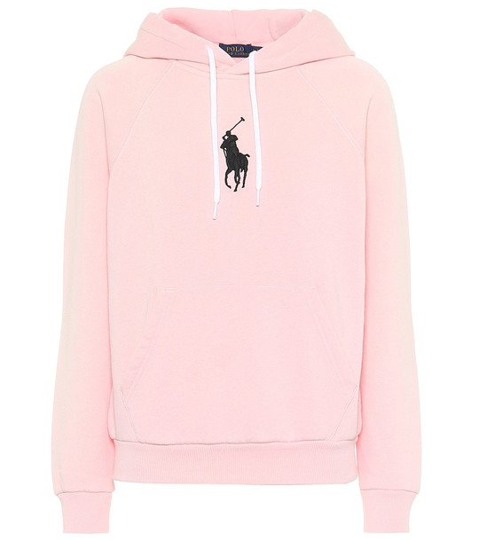 Polo Ralph Lauren Cotton-blend jersey hoodie in pink