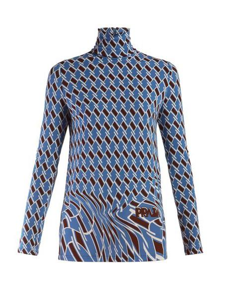 Prada - Argyle Print Roll Neck Top - Womens - Blue Multi