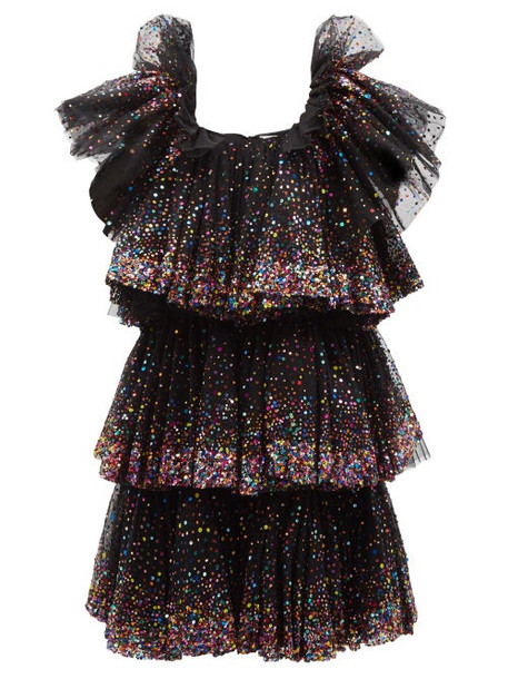 Ashish - Tiered Ombré-sequinned Tulle Midi Dress - Womens - Black Multi