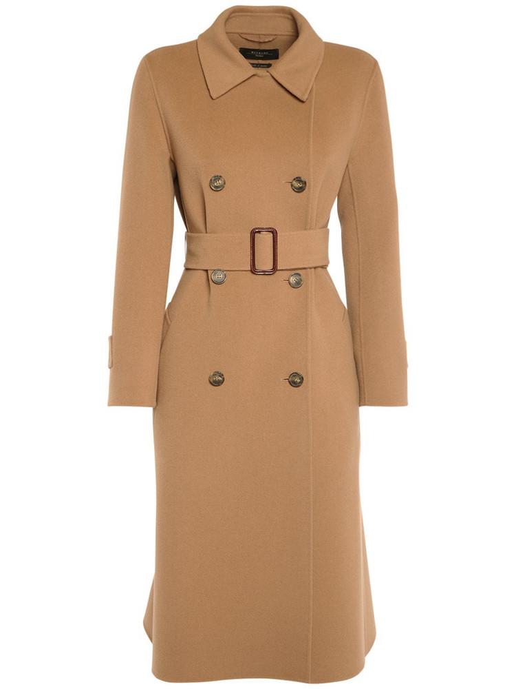WEEKEND MAX MARA Belted Double Wool Knee Length Coat in beige