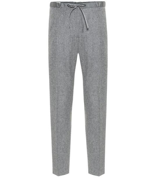 Jil Sander High-rise straight wool-blend pants in grey