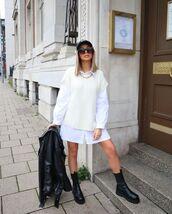 sweater,knitwear,vest,black boots,white shirt,oversized,black leather jacket