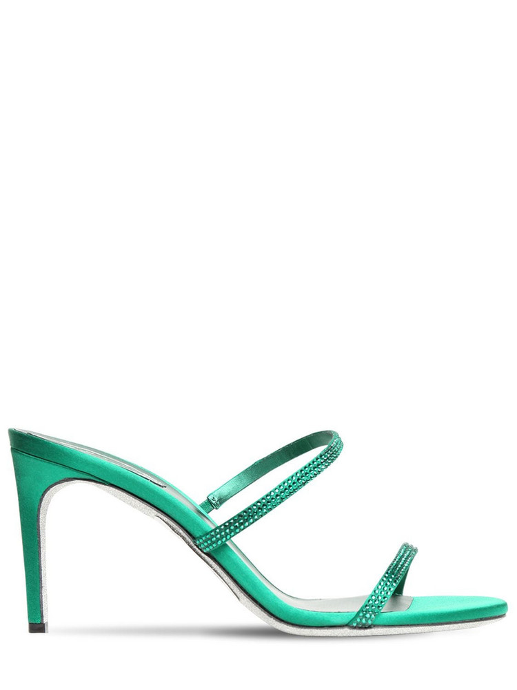 RENÉ CAOVILLA 80mm Embellished Satin Sandals in green