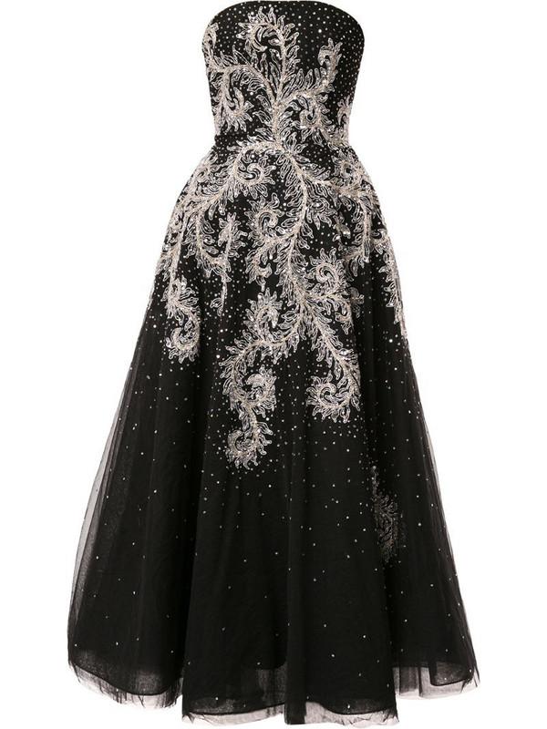 Saiid Kobeisy strapless flared midi dress in black