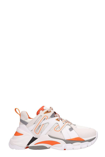 Ash White And Orange Leather Flash Sneakers