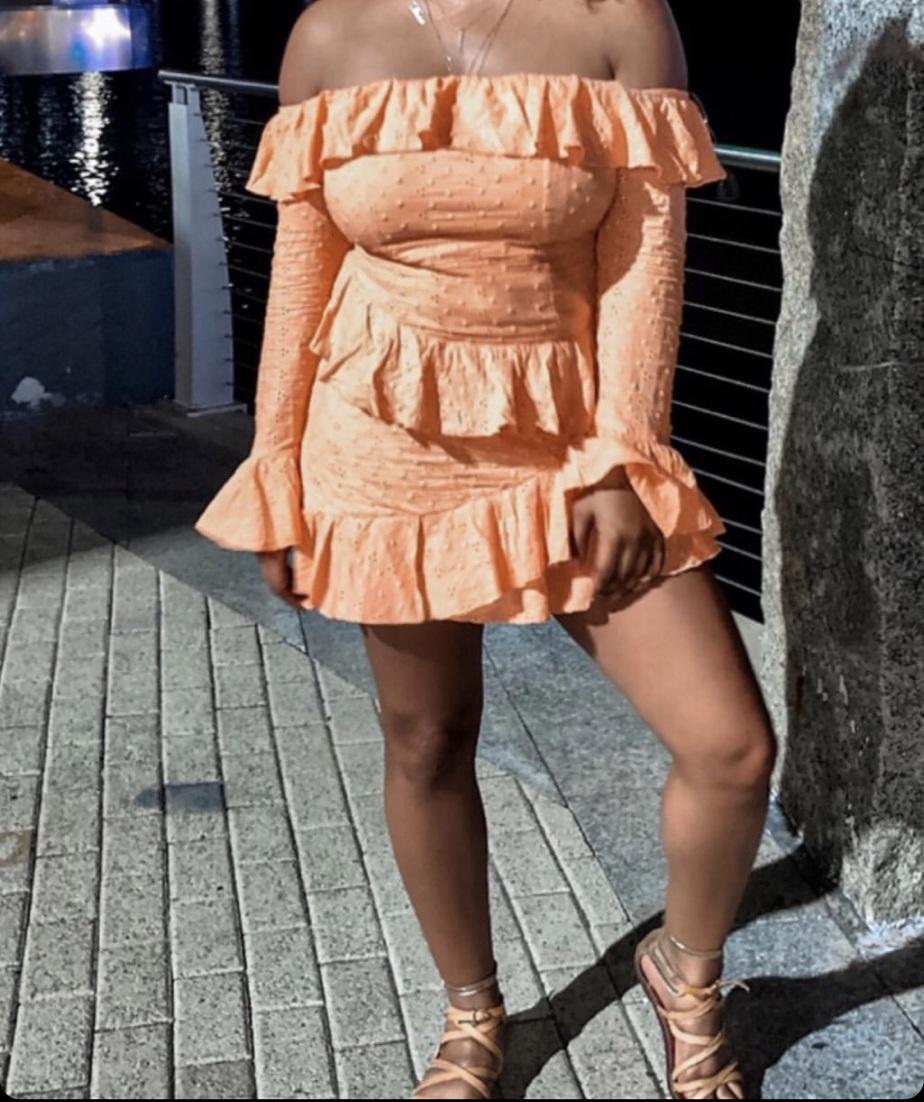 dress orange dress off the shoulder