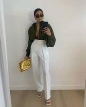 pants,white pants,high waisted pants,white sandals,shirt,bag