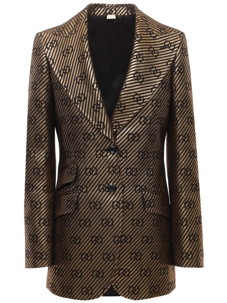 GUCCI All Over Logo Cotton & Silk Jacket in black / gold