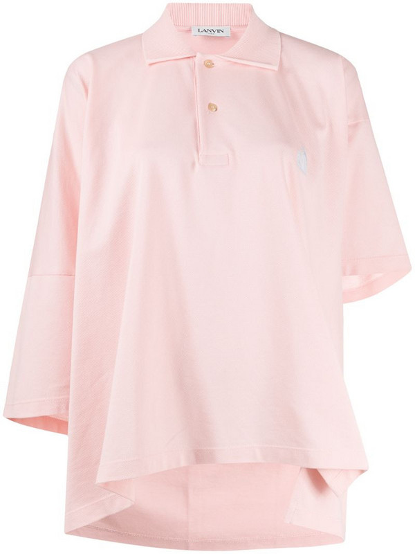 LANVIN Mother and Child asymmetric polo shirt in pink