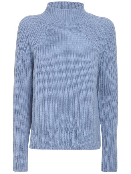 MAX MARA WEEKEND Wool Rib Knit Mock Neck Sweater in blue