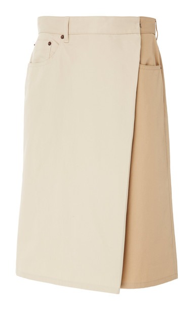 MM6 Two-Tone Overlay Twill Bermuda Shorts in neutral