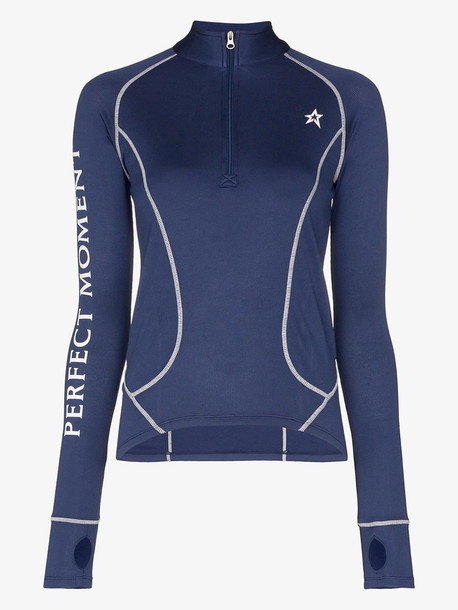 Perfect Moment knitted half zip thermal top in blue
