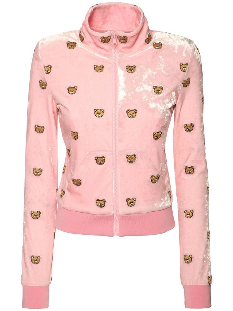 MOSCHINO Teddy Print Stretch Velvet Sweatshirt in pink / multi