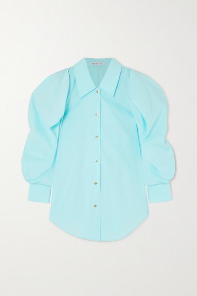 REJINA PYO - Julia Oversized Checked Cotton And Linen-blend Shirt - Blue
